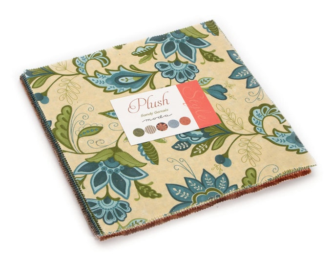 Moda Plush Sandy Gervais Cream Blue Green Floral Shabby Chic Layer Cake 42 Fabric 10 Inch Squares