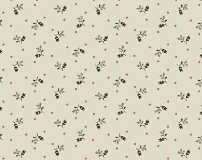 Windham Madeline Julie Hendrickson Cream Pink Brown Cream Floral Civil War Shirting Fabric BTY 43461-1