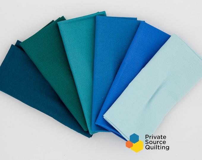 Kaufman Kona Cotton Cyan Glacier Turquoise Jade Green Emerald Blue Green Color Pack 6 Fat Quarters Quilt Fabric Bundle
