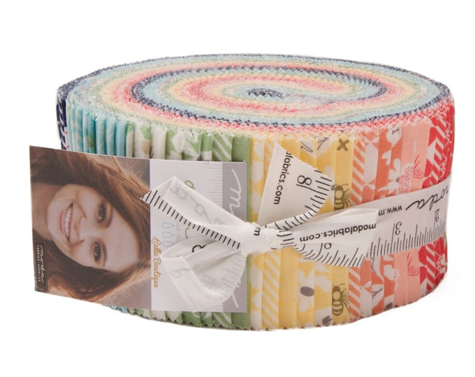 Moda Garden Variety Lella Boutique Floral Bee Pink Blue Green Jelly Roll 2.5 Fabric Strips