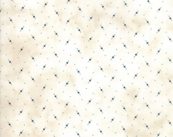 Moda Star and Stripe Gatherings Tallow with Blue Star Dot Fabric 1266-12 BTY