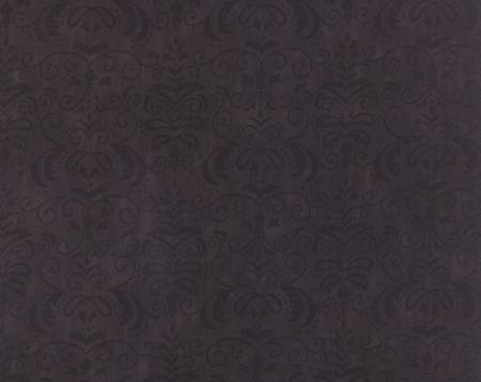Moda Forest Fancy by Deb Strain Midnight Black, Dark Charcoal Gray with Black Damask Pattern  Cotton Fall  tones 19714-12 BTY