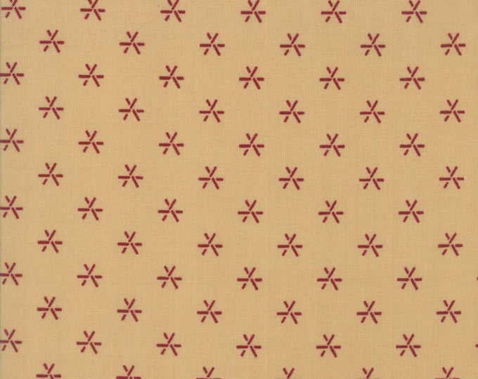 Moda Liberty Gatherings Cream Tan with Red Star Asterisk Fabric 1207-16 BTHY