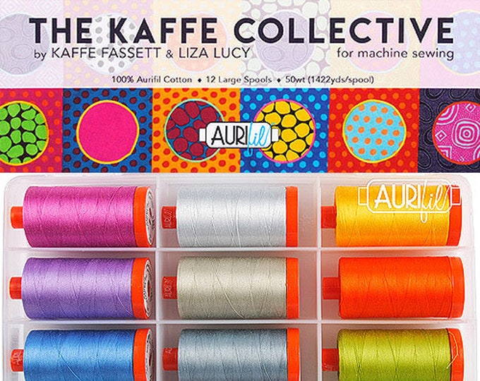 AURIFIL Set of 12 MAKO 50 Wt Kaffe Collective Kaffe Fassett Liza Lucy Bright Quilting Thread
