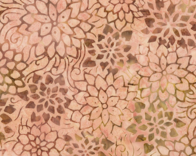 Anthology Art Inspired Batik Jackson Pollock Number Blush Pink Mauve Floral Fabric 256Q-2 BTY