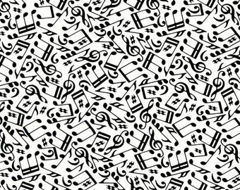 RJR Patrick Lose Odds and Ends Black and White Fabric 2901-002 White Background Black Music Notes BTY