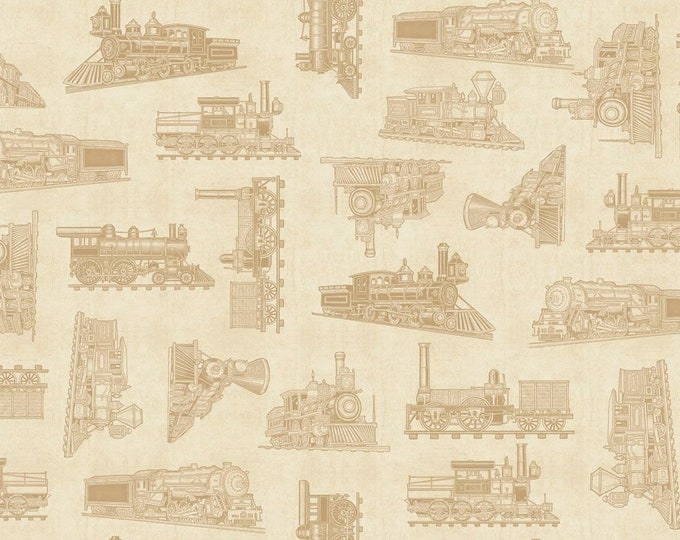 Quilting Treasures Dan Morris Full Steam Ahead Train Locomotive Ecru Cream Beige Fabric BTY