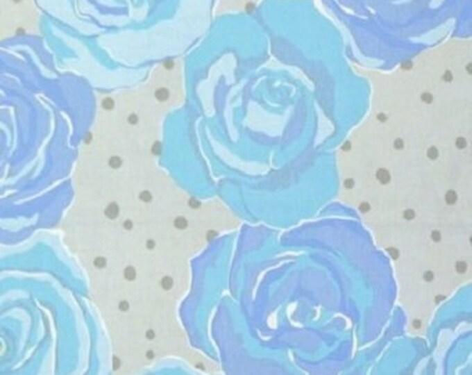 Free Spirit  Olive Rose Fabric Valori Wells -Olive Rose Blue diamond Cotton 07600-05   BTY