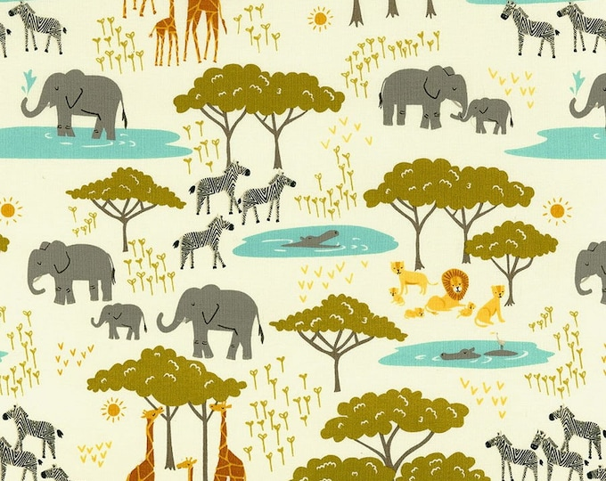 Moda Safari Life White Cream Animal Zebra Giraffe Lion Rhino Kids Fabric 20643-11 BTHY