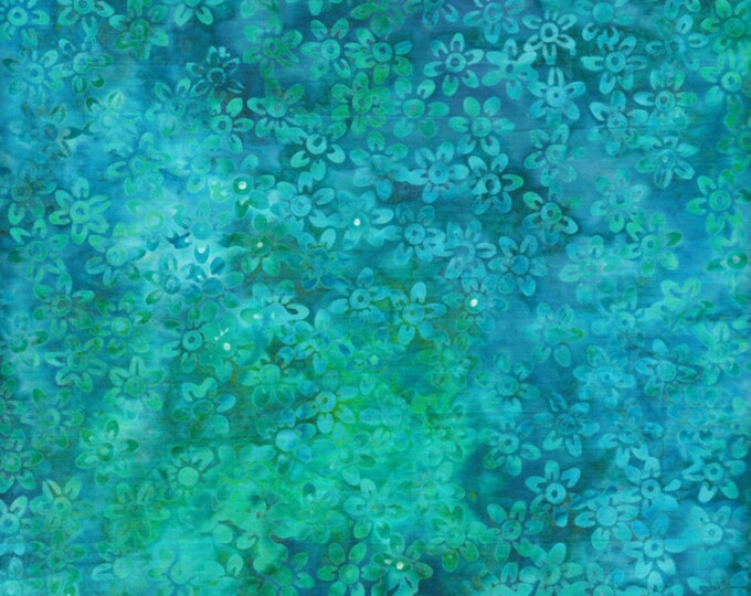 Anthology Art Inspired Jacqueline de Jonge Batik Rainbow with Stamp Teal Turquoise Green Floral Fabric 16321 BTY