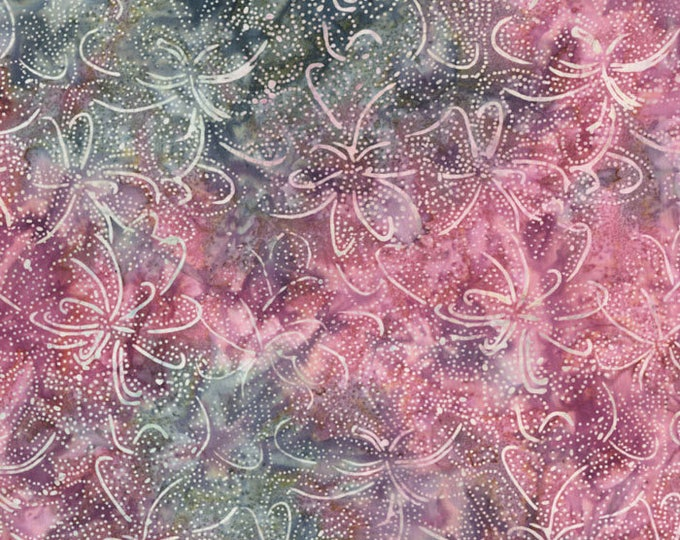 RJR Jinny Beyer Malam Batik Blue Purple Pink Swirl Floral Leaf Leaves Batik 2147-003 Fabric BTHY