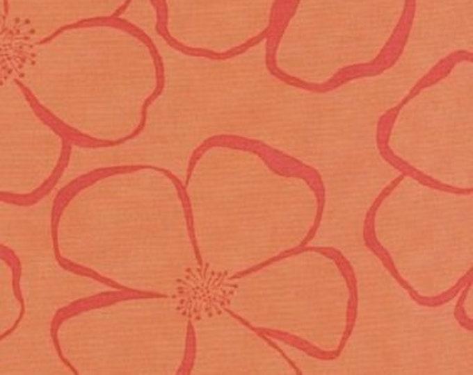 Free Spirit Cotton  Olive Rose Wild rose Orange  large Floral  print Orange  background  07600-38  BTY