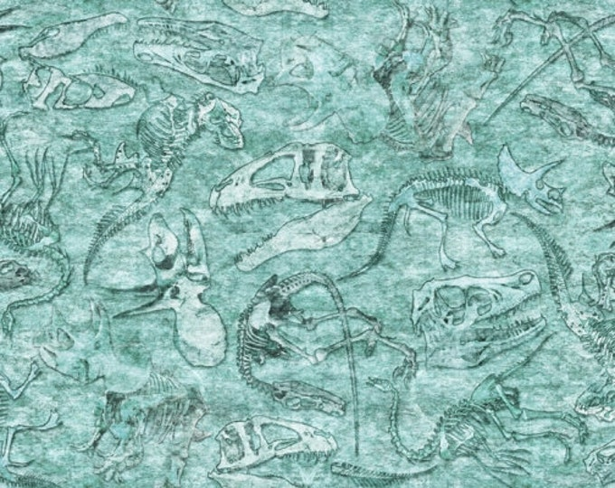 Quilting Treasures Lost World Realistic Dinosaur Dan Morris  Fossils Fabric Turquoise Aqua Teal Blue 26803-Q BTY