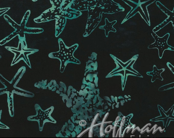 Hoffman Bali Batik Starfish Black Jade Green Teal Blue Q2167-216 Fabric BTY