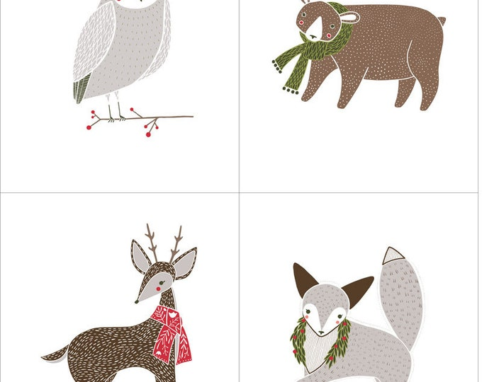 Moda MERRIMENT Gingiber Holiday Owl Deer Reindeer Fox Bear Panel White Fabric BTP 48270-11