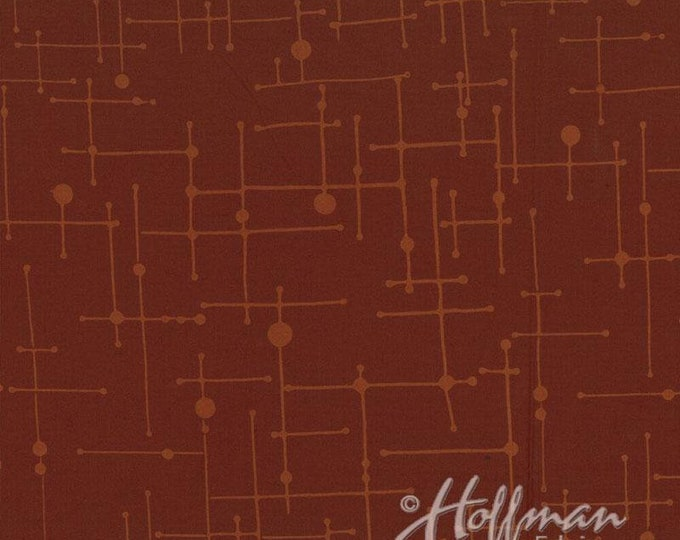 Hoffman Indah Me+You Batik Redwood Red Brown Fabric 117 Color 551 BTY