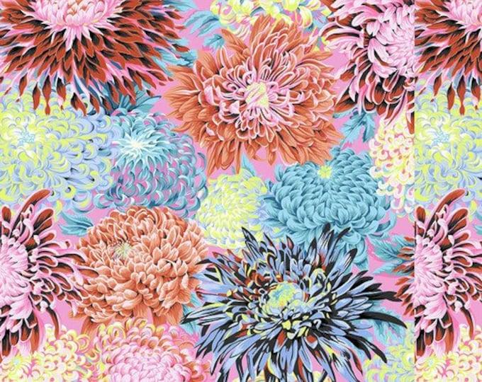 NEW Free Spirit Kaffe Fassett Fall 2018 Japanese Chrysanthemum Contrast Pink Floral Mum Fabric PWPJ041 BTY