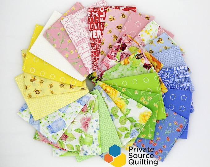 Windham Cottage Joy Shannon Christensen Bee Floral Garden Blooms Blue Pink Yellow Greenl Fabric 25 Fat Quarter Bundle