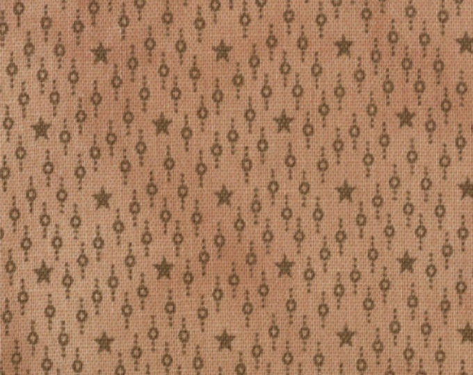 Moda Little Gatherings Dark Tan Brown Star Dash Primitive Gatherings Fabric BTY 1042-29