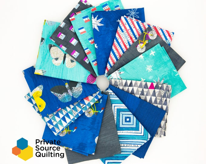 Windham Wonder Carrie Bloomston Blue Teal Gray White Newsprint Bicycle Flag Star Stripe 14 Fat Quarter FQ Fabric Bundle