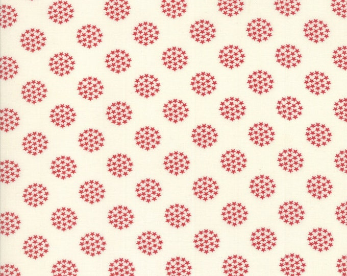 Moda Sweetwater FREEDOM Fireworks Star Circle White with Red Crimson Stars Fabric 5645-24 BTY