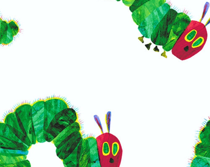Andover The Very Hungry Caterpillar Eric Carle White Green Red Caterpillar Walk Fabric 5280-M BTY