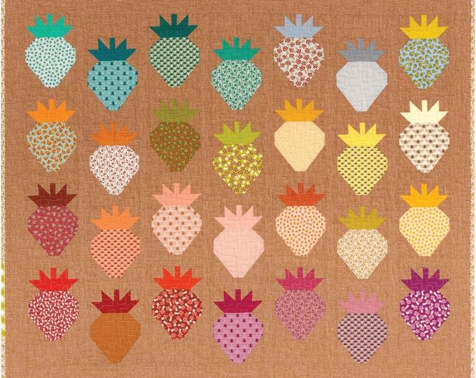Kaufman Berry Patch Berry Season Elizabeth Hartman Strawberry Mushroom Fabric Quilt Kit Backing Included 42 x 35