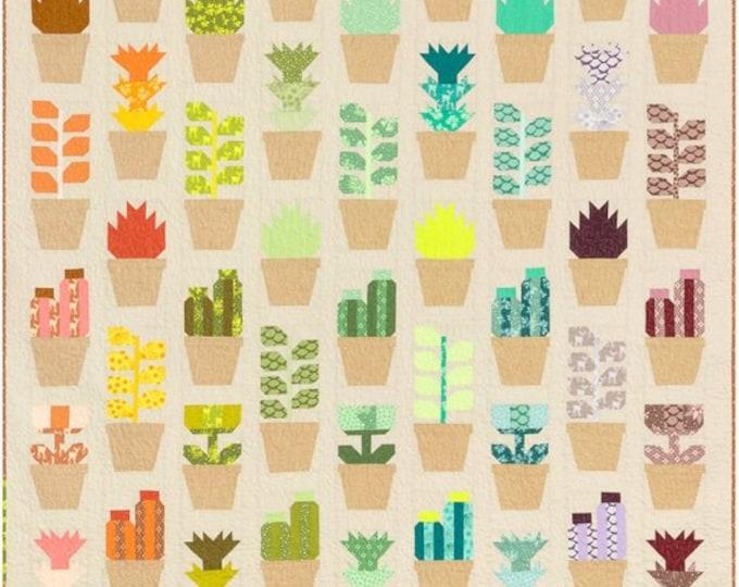 Greenhouse Green House Elizabeth Hartman Plant Pots Succulent Modern Quilt Kit and Pattern