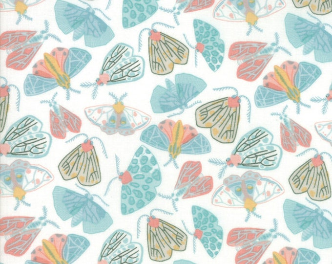 Moda Twilight by One Canoe Two Bug Teal Pink Yellow White Moth Fabric 36032-21 BTY