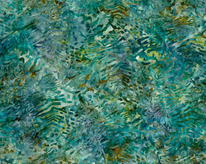 Kaufman Mckenna Ryan Tiger Fish Green Blue Gold Batik Fabric 15740-78 BTY