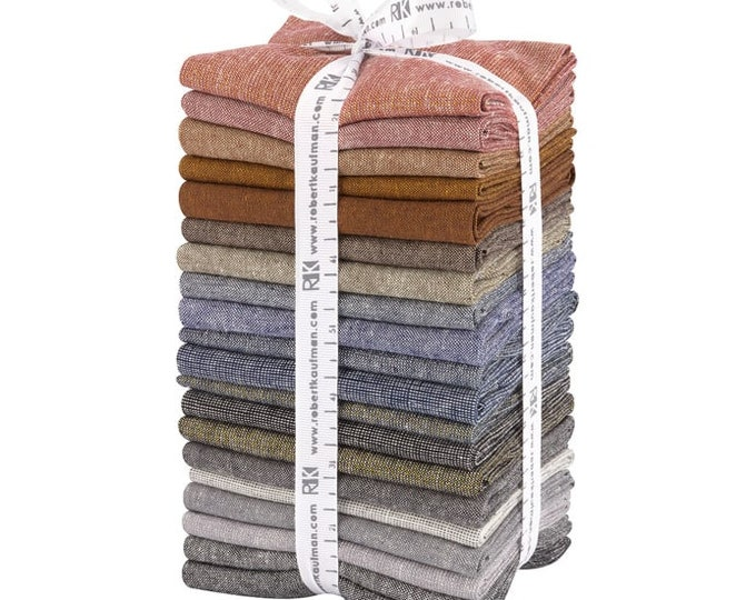 Kaufman Essex Yarn Dyed Dark Cotton Linen 20 Fat Quarter Brown Blue Red Fabric Bundle