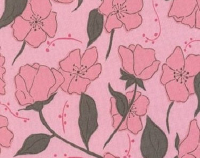 Free Spirit Cotton  Olive Rose pink small roses  print Brown  background  07600-22  BTY