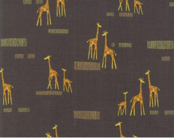 Moda Safari Life Stacy Iest Hsu Grey Gray Charcoal Giraffe Savanna Kids Fabric 20647-15 BTHY