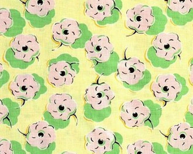 Free Spirit Felicity Miller KitesPink Flowers on green and yellow background Cotton 07600-30  BTY