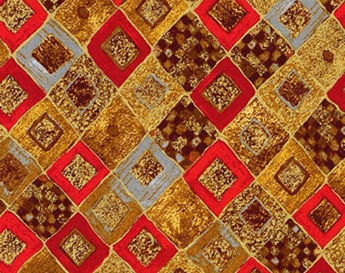 Robert Kaufman Gustav Klimt Red Gold Yellow Cotton Gilded Diamond Fabric BTY 17184-3