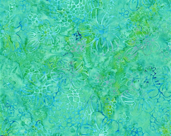 RJR Jinny Beyer Malam Batik Light Green Blue Teal Aqua Daisy Flower Floral Batik 2976-004 Fabric BTY