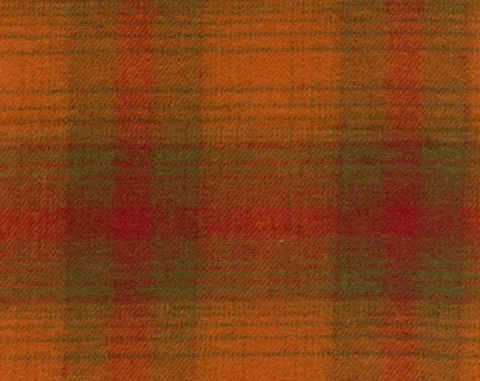 Marcus Primo Plaids Flannel Rust Red Pumpkin Green Plaid Fabric  J134-0129 BTY