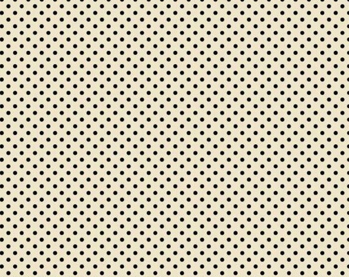 Wilmington Prints Follow the Sun Sunflower White Black Polka Dot Fabric BTY