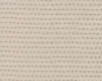 Moda Flight Janet Clare Aeroplane Airplane Taupe Gray Grey Tonal Plane Fabric 1410-11 BTY