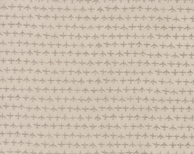 Moda Flight Janet Clare Aeroplane Airplane Taupe Gray Grey Tonal Plane Fabric 1410-11 BTY
