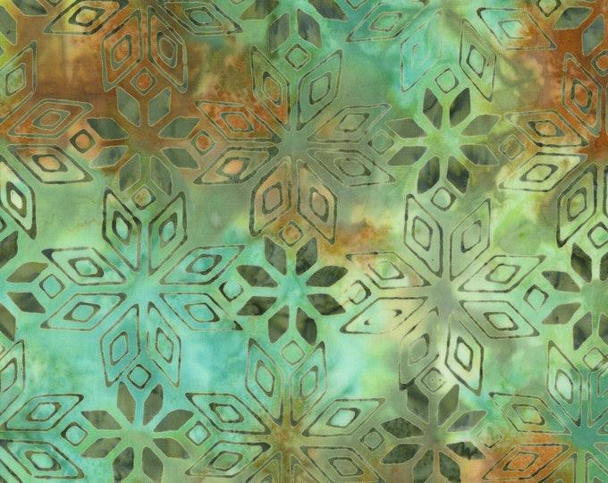Anthology Art Inspired Batik Pierre Renoir Girls At the Piano Lagoon Brown Aqua Diamond Floral Fabric 254Q-2 BTY