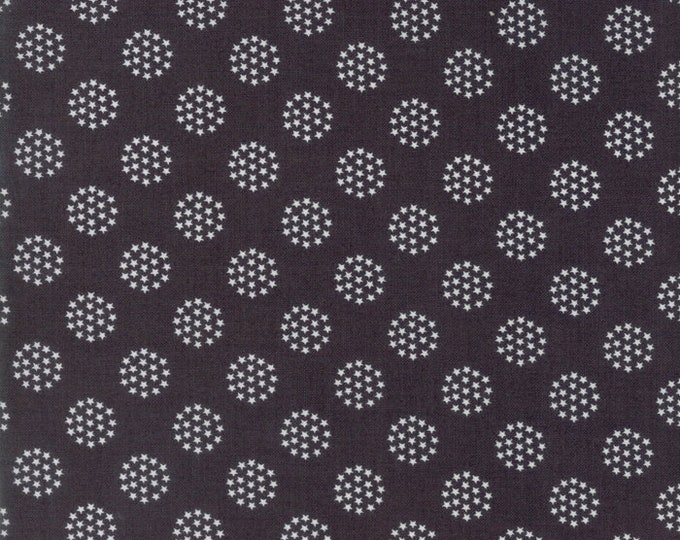 Moda Sweetwater FREEDOM Fireworks Star Circle Charcoal Gray Grey with White Stars Fabric 5645-16 BTY
