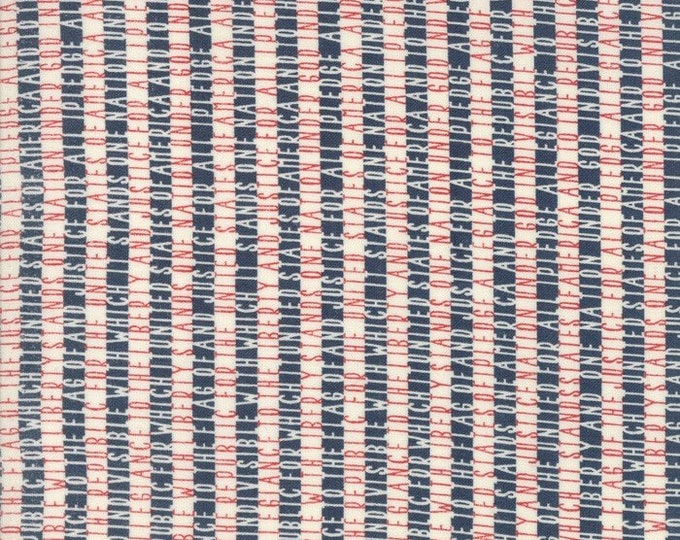 Moda Sweetwater FREEDOM Allegiance White Navy Blue Red Pledge of Allegiance Fabric 5643-12 BTY