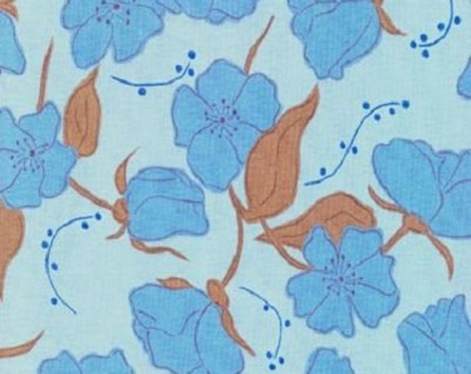 Free Spirit  Olive Rose Fabric Valori Wells -Olive Royal Small roses Cotton 07600-75   BTY