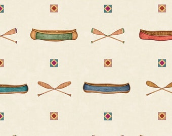 Quilting Treasures Backcountry Dan Morris Canoe Camping Outdoor Camp Cabin Fabric 26735-E BTY