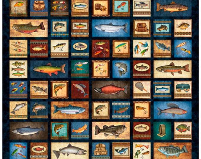 Quilting Treasures Fresh Catch Dan Morris Navy Fishing Fisherman Bass Salmon Fish 1 Yard Panel 27203-N BTP