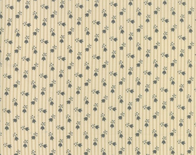 Moda Jos Shirtings by Jo Morton Cream Charcoal Beige Floral Civil War Fabric 38045-22 BTY