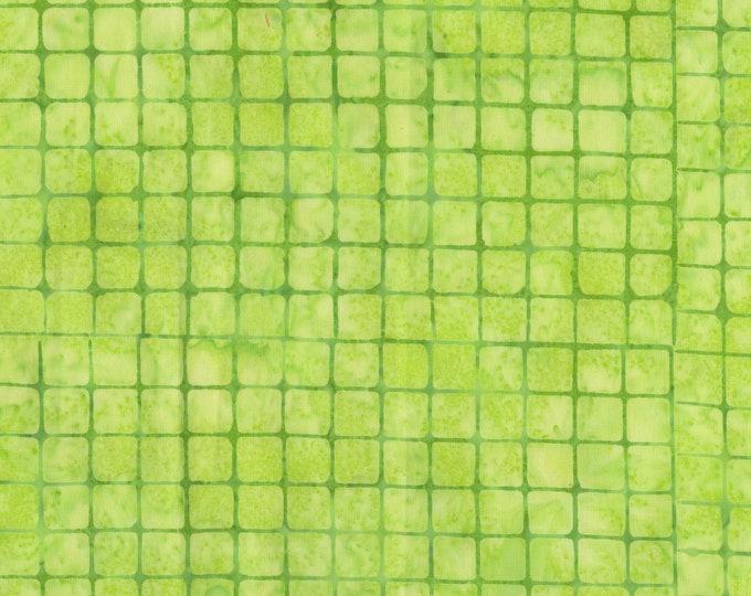 Anthology Art Inspired Batik Checkerboard Chic Greenie Key Lime Green Grid Fabric 809Q-4 BTY