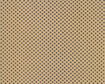 Moda Liberty Gatherings Cream Tan with Navy Blue Circle Dot Fabric 1206-18 BTY