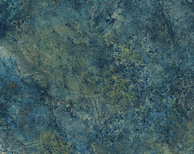 Northcott Stonehenge Gradations Blue Planet Blue Teal Brown Mottled Granite Marble Fabric 39301-49 BTY